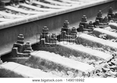 Railway Track Details, Closeup Photo