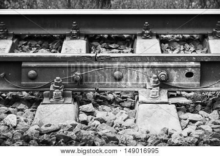 Railway Details, Rails Joint With Gap, Closeup