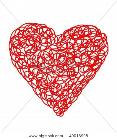 Abstract art vector - red heart. Hand drawn heart symbol.