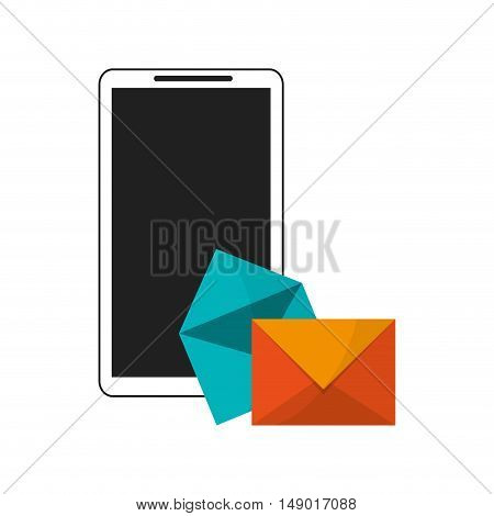 flat design cellphone and  message envelope icon vector illustration