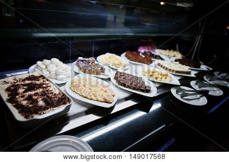 Buffet Catering Of Various Bowl With Sweets Bakery