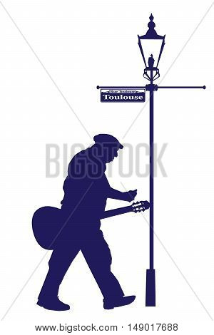 Vector Toulouse Street Old Musician with Acoustic Guitar Silhouette