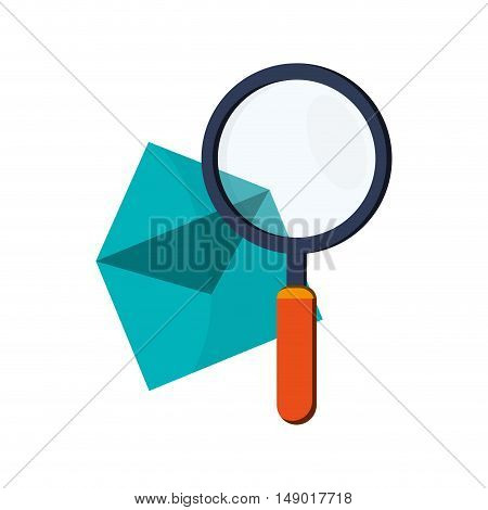 flat design message envelope and magnifying glass icon vector illustration