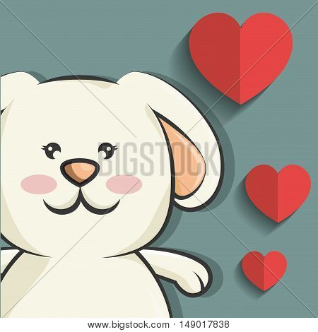 cute rabbit animal with red heart shape. love bunny. colorful design. vector illustration