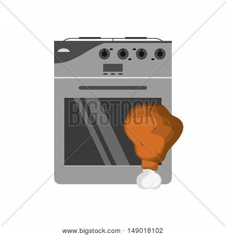 flat design oven and  chicken thigh icon vector illustration