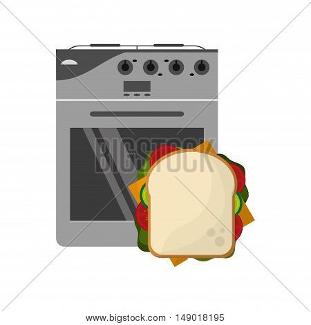 flat design oven and sandwich  icon vector illustration
