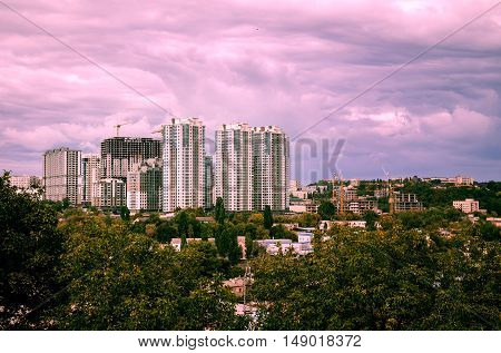 autumn beautiful view of the city of Kiev, capital of Ukraine, modern architecture, construction of new skyscrapers, apartment buildings and business centers