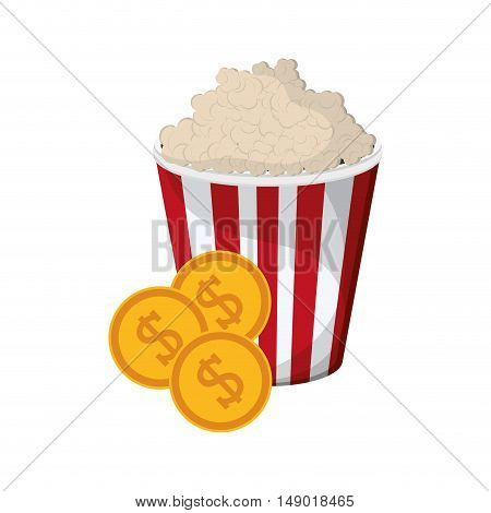flat design popcorn and coins icon vector illustration