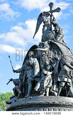 VELIKY NOVGOROD RUSSIA -JUNE 17 2015. Sculptural group Formation of the Russian Empire - Peter I and genius-winged angel pointing the way to the north - at the monument Millennium of Russia