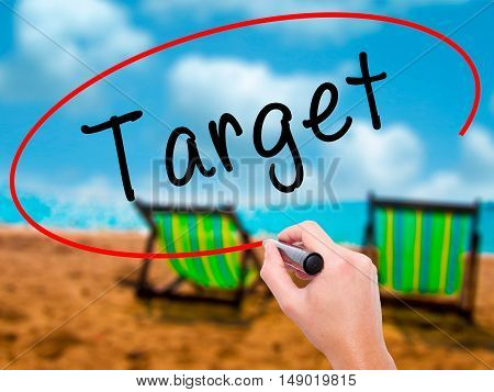 Man Hand Writing Target With Black Marker On Visual Screen