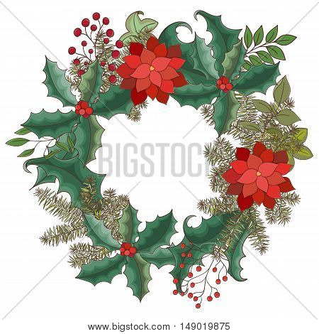 Christmas and New Year invitation card. Hand drawn vector illustration of wreath on light background. Winter holiday collection