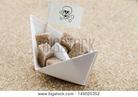 Brown sugar cubes on a boat in a brown sugar sea