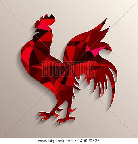 Red rooster as symbol of 2017 on the Chinese calendar. 3D silhouette of red decorated with portuguese cut ruby on background. Vector element for New Year card logo or other design.