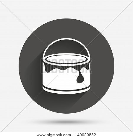 Bucket of paint icon. Painting works sign. Painter equipment. Circle flat button with shadow. Vector
