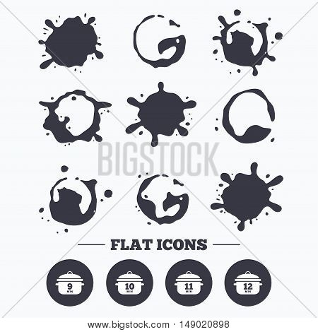 Paint, coffee or milk splash blots. Cooking pan icons. Boil 9, 10, 11 and 12 minutes signs. Stew food symbol. Smudges splashes drops. Vector