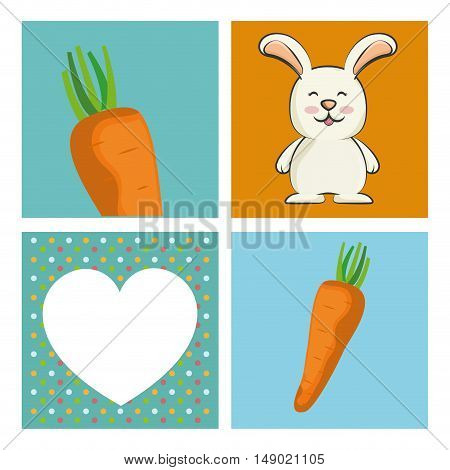cute rabbit animal with orange carrot and white heart shape. colorful design. vector illustration