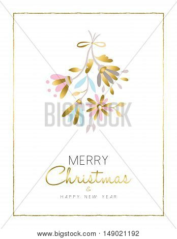 Merry Christmas And New Year Gold Flower Card