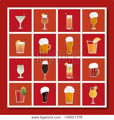 flat design assorted cocktails and beers image vector illustration