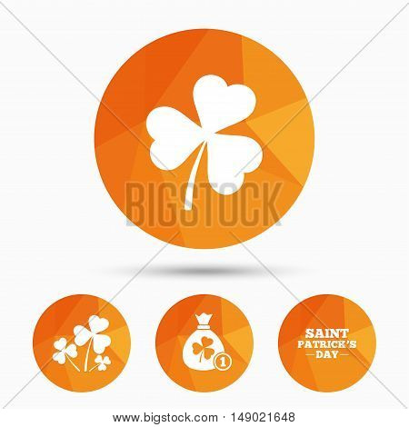 Saint Patrick day icons. Money bag with clover and coin sign. Trefoil shamrock clover. Symbol of good luck. Triangular low poly buttons with shadow. Vector