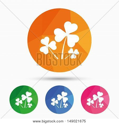 Clovers with three leaves sign icon. Saint Patrick trefoil shamrock symbol. Triangular low poly button with flat icon. Vector
