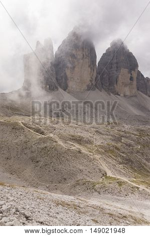Tre Cime de Lavaredo, Italy. View to the famous Drei Zinnen in Dolomites Alps Mountains, one of the best-known mountain groups in the European Alps