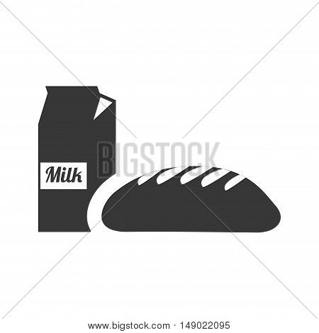 bread bakery food product with milk box icon silhouette. vector illustration
