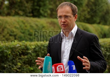 GATCHINA, ST. PETERSBURG, RUSSIA - SEPTEMBER 10, 2016: Russian Minister of Culture Vladimir Medinsky talks with press during the festival Gatchinskaya Byl. The festival is held first time this year