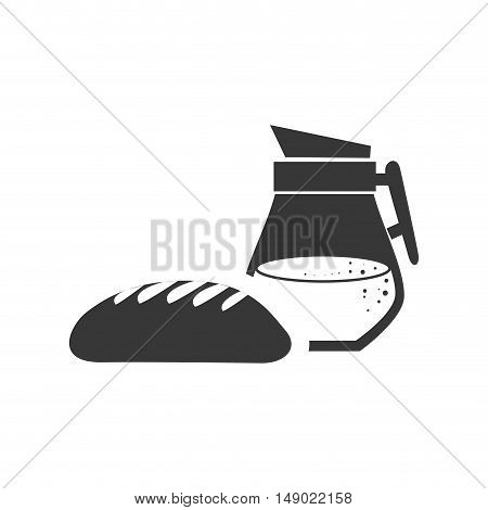 bread bakery food product with juice jar icon silhouette. vector illustration