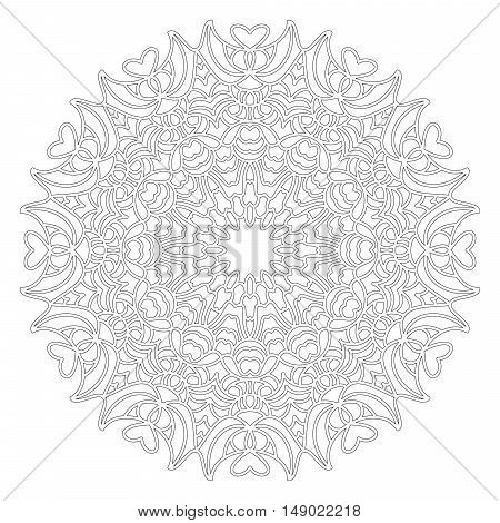 vector black and white round geometric floral mandala with hearts - adult coloring book page