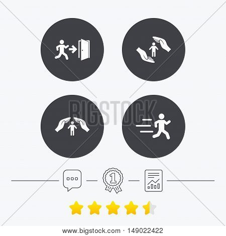 Life insurance hands protection icon. Human running symbol. Emergency exit with arrow sign. Chat, award medal and report linear icons. Star vote ranking. Vector