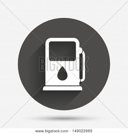Petrol or Gas station sign icon. Car fuel symbol. Circle flat button with shadow. Vector