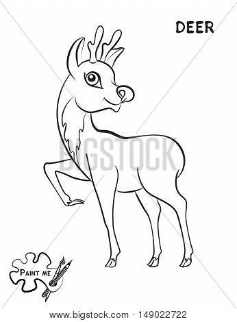Children's coloring book that says Paint me. Deer