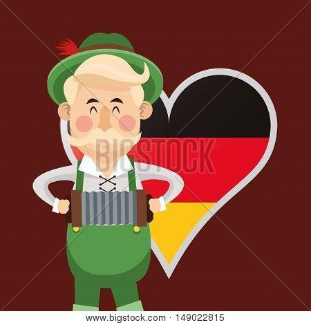 flat design man germany oktoberfest beer icons image vector illustration