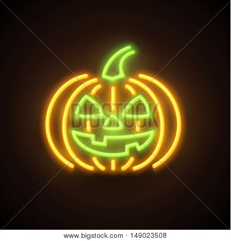 Halloween pumpkin sign made of light tubes. Glowing in the dark icon. Vector illustration.