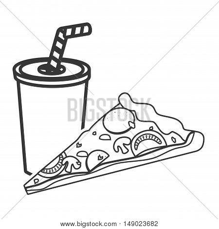 soda plastic cup with straw and pizza fast food icon silhouette. vector illustration