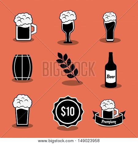 flat design beer related icons image vector illustration