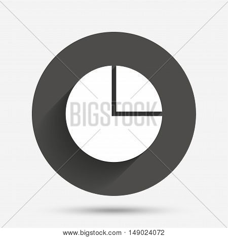 Pie chart graph sign icon. Diagram button. Circle flat button with shadow. Vector
