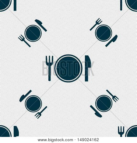 Plate Icon Sign. Seamless Pattern With Geometric Texture. Vector