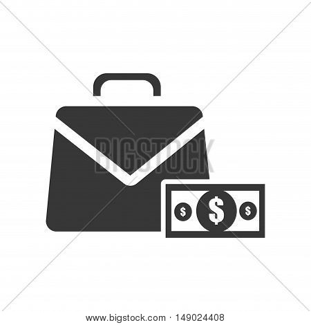 business briefcase accessory with money bill icon silhoutte. vector illustration