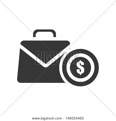 business briefcase accessory with money coin icon silhoutte. vector illustration