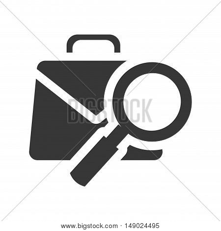 business briefcase accessory with magnifying glass icon silhoutte. vector illustration