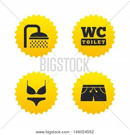 Swimming pool icons. Shower water drops and swimwear symbols. WC Toilet sign. Trunks and women underwear. Yellow stars labels with flat icons. Vector