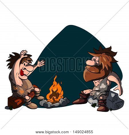 Cartoon illustration of two cavemen talking around the camp fire.