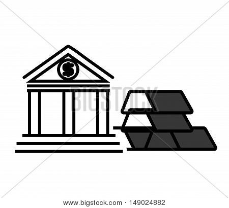 gold bars block with bank icon silhouette. vector illustration
