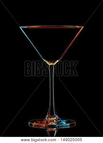 Silhouette of colorful martini glass with clipping path on black background.