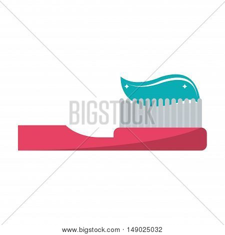 Toothbrush with toothpaste icon. Dental medical and health care theme. Isolated design. Vector illustration