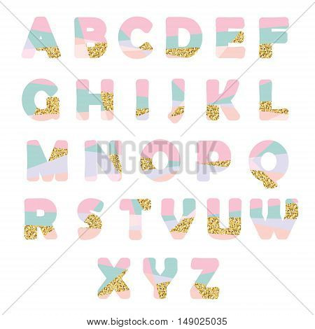 Modern abstract font with glitter. Creative ABC letters can be used for sale party shop present header brochure.