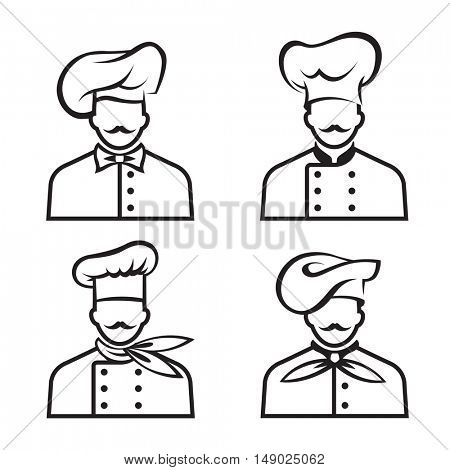 monochrome collection of four mustachioed chefs