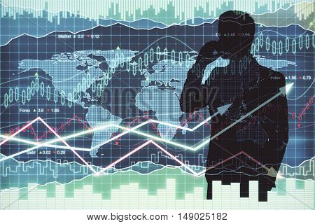 Businessman silhouette talking on phone on abstract forex chart background