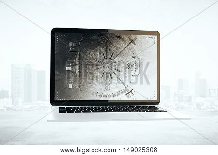 Abstract laptop computer with closed bank vault on screen. City background. Online banking concept. 3D Rendering